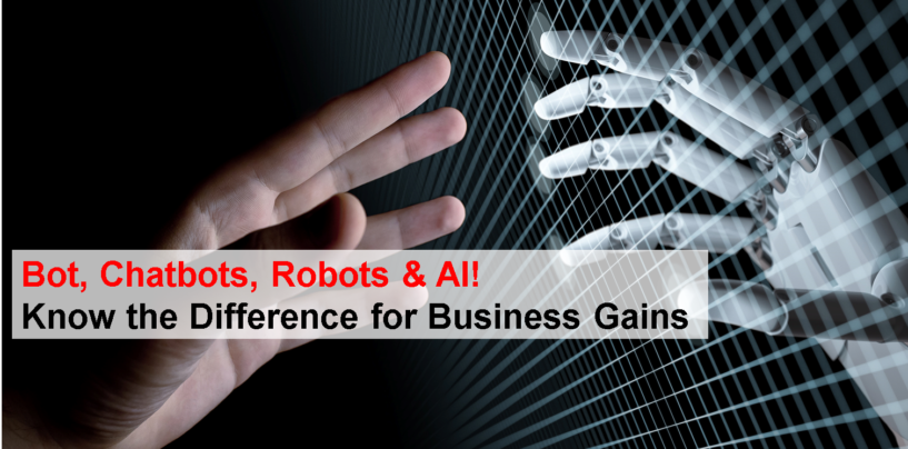 Bot, Chatbots, Robots & AI! Know the Difference for Business Gains